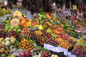 Fruit on display at La Boqueria market in Barcelona, Spain
