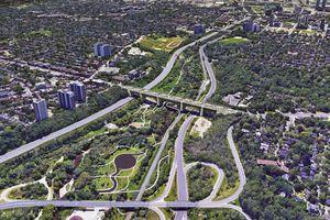 Aerial view of park and bridge