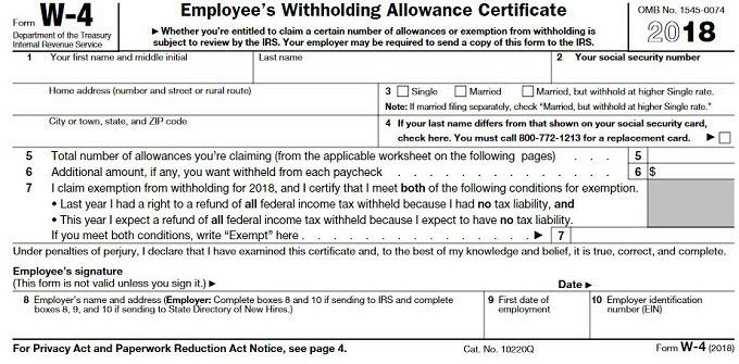 w4 form single example  How to Fill Out a W-6 Form