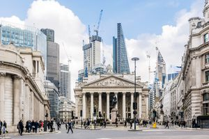 Street in City of London with Royal Exchange, Bank of England and new modern skyscrapers, England, UK