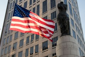 US flag flies outside of the Carl B. Stokes Federal Courthouse