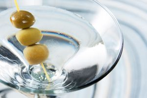 Dirty Martini with three olives