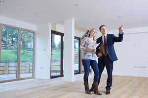 Young couple in an empty new house