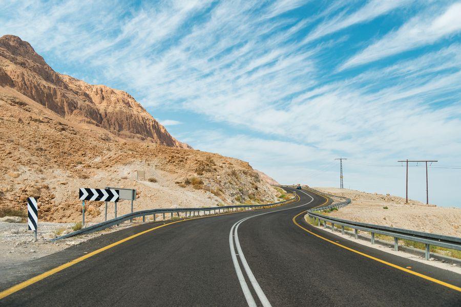 Windy road in desert in south Israel