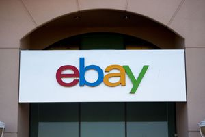 An Ebay sign and logo.