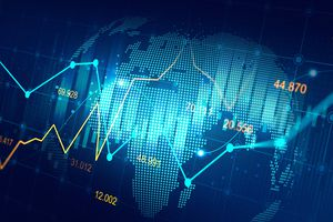Concept chart showing bar graphs, stock prices, line graphs, and the globe
