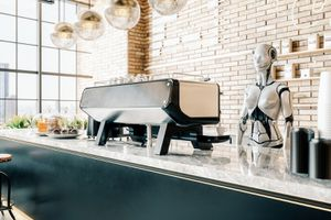 Third Wave Coffee Shop With Robot Barista