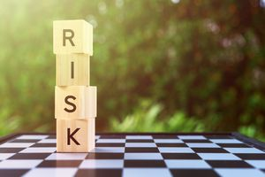 Risk Word on Wooden Block