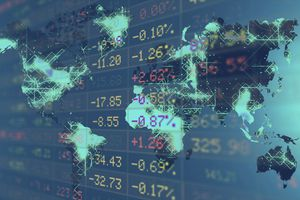Close-up of stock market data on trading board