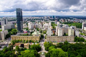 Warsaw City view and Cityscape Skyline