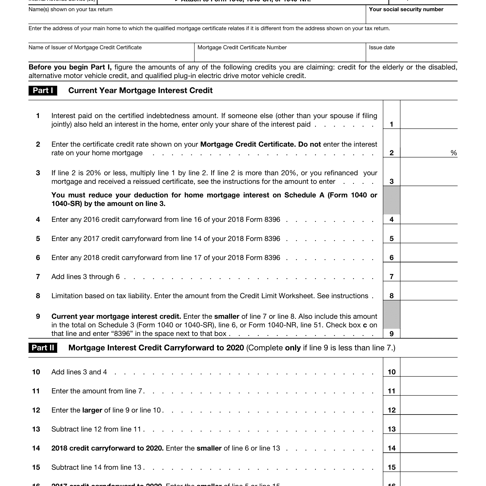Form 8396 Mortgage Interest Credit Definition