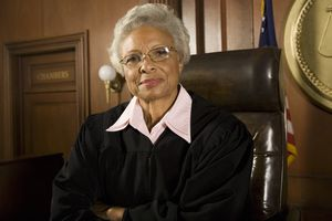 Black woman judge in courtroom