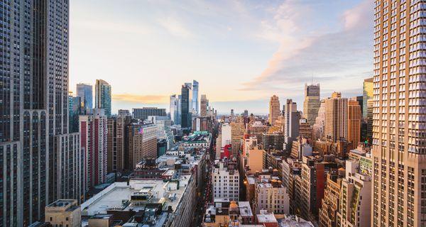 Rooftop view of Midtown Manhattan skyline, New York City