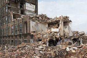 Partly demolished large building