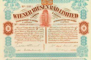 Share of the Wiener Riesen Rad Ltd., issued 21. March 1898