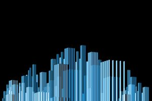 abstract blue city like a bar graph