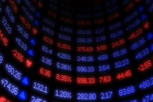 Blue and red stock prices going up and down.