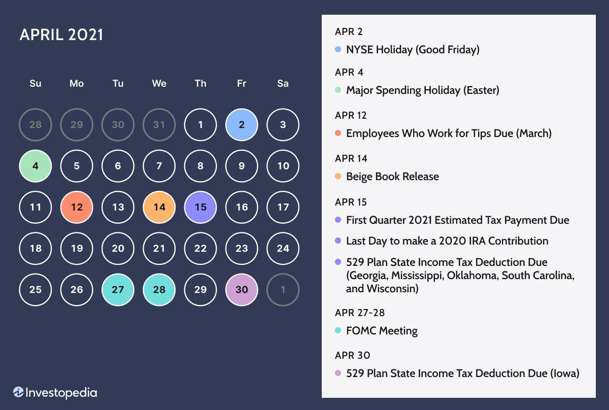 Irs Calendar 2022.2021 Personal Finance Calendar