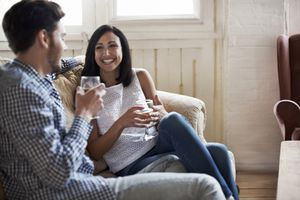 Couple enjoying time together in rental apartment