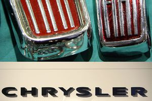 A combo image showing the logos of Italian car manufacturer Fiat and US automobile heavyweight Chrysler.