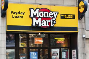 Money Mart advertising payday loans on storefront