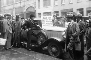 30 Oct 1929, New York, New York, USA --- Wall Street Investor Tries to Sell Automobile