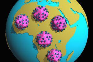 Illustration of pandemic HIV (Human Immunodeficiency Virus) capsids threatening Africa