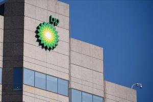 BP logo near the top of the BP Exploration Alaska headquarters.