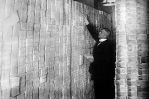 Stacks of banknotes in a Berlin bank during the hyperinflation in 1920s Germany