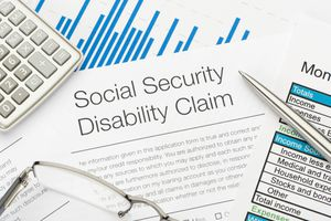 A Close up of Social Security disability claim form.