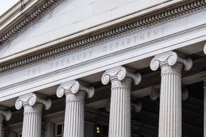 United States Treasury Department Building in Washington, DC.