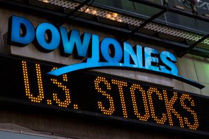 The illuminated Dow Jones sign in Times Square