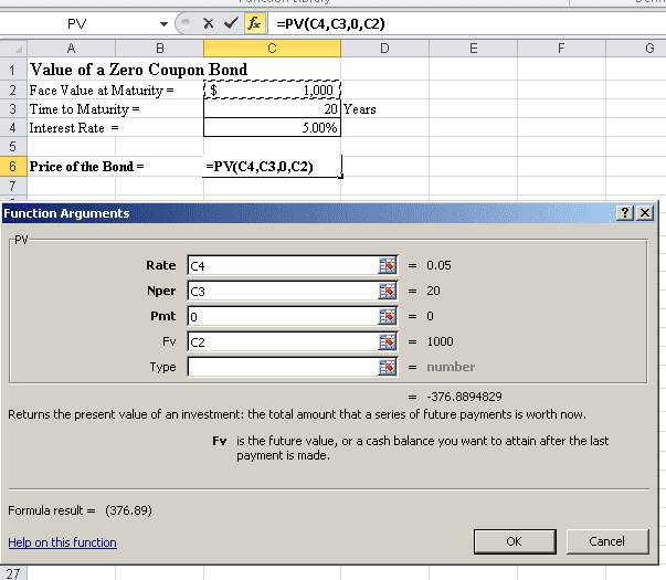 Calculate Pv Of Different Bond Type With Excel