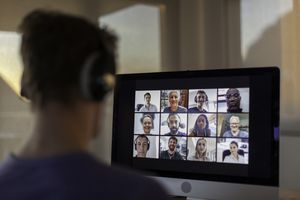 People working from home on a video call