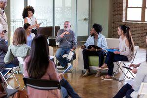 At Meeting, Mature Adult Homeowner Discusses Park Plans