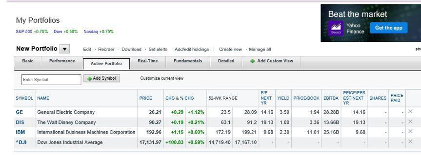 Tracking Your Portfolio On Yahoo Finance