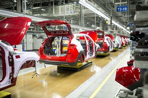 Assembly line in a car factory