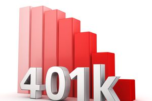 Moving down red bar graph of 401k on white.