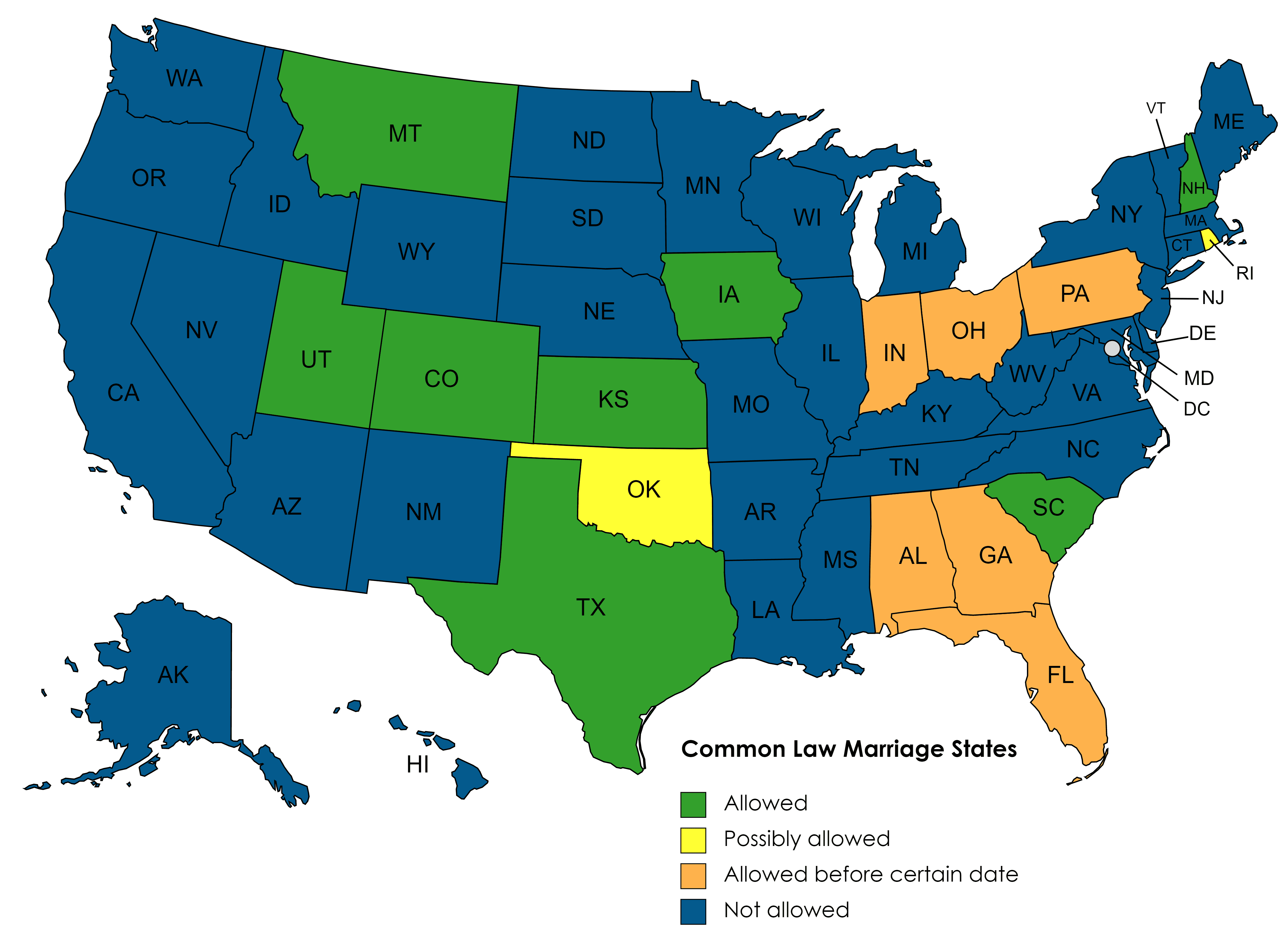 Map of the United States, with common-law marriage states identified
