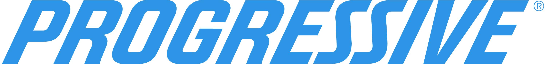 Progressive Insurance logo in blue italic block letters
