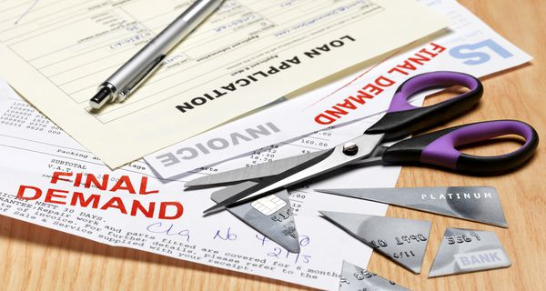 Cut up credit card and bills