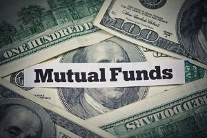 Mutual funds text with money in background.