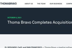 Logo and top of press release of ThomaBravo company