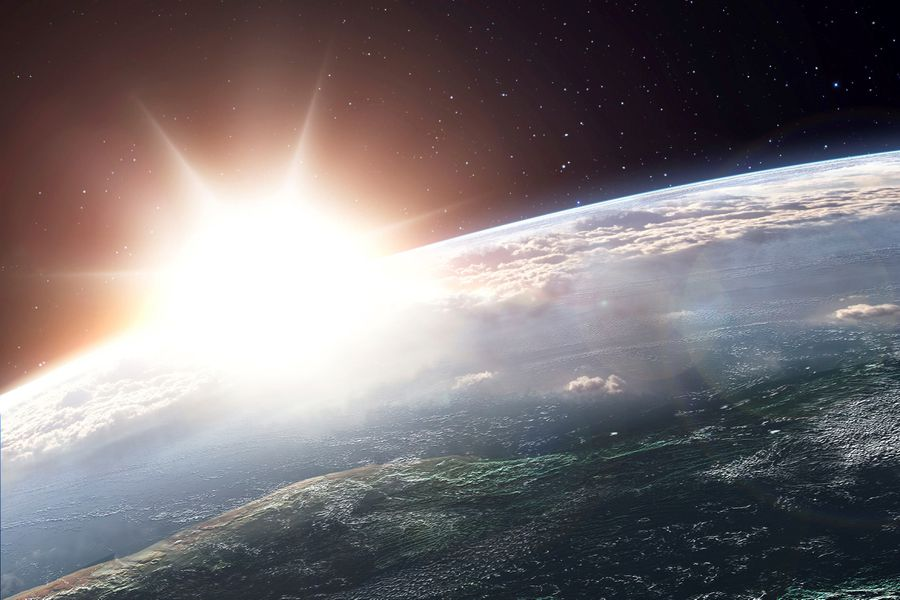 Sunrise over the earth, shot from space