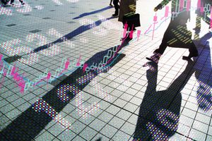 Stock Charts and Prices on Sidewalk