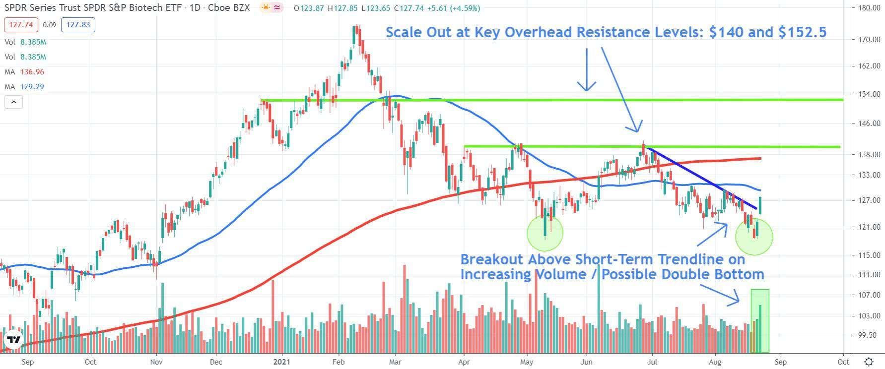 Chart depicting the share price of the SPDR S&P Biotech ETF (XBI)
