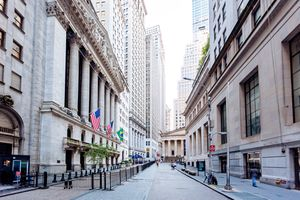 Wall Street and New York Stock Exchange in downtown Manhattan