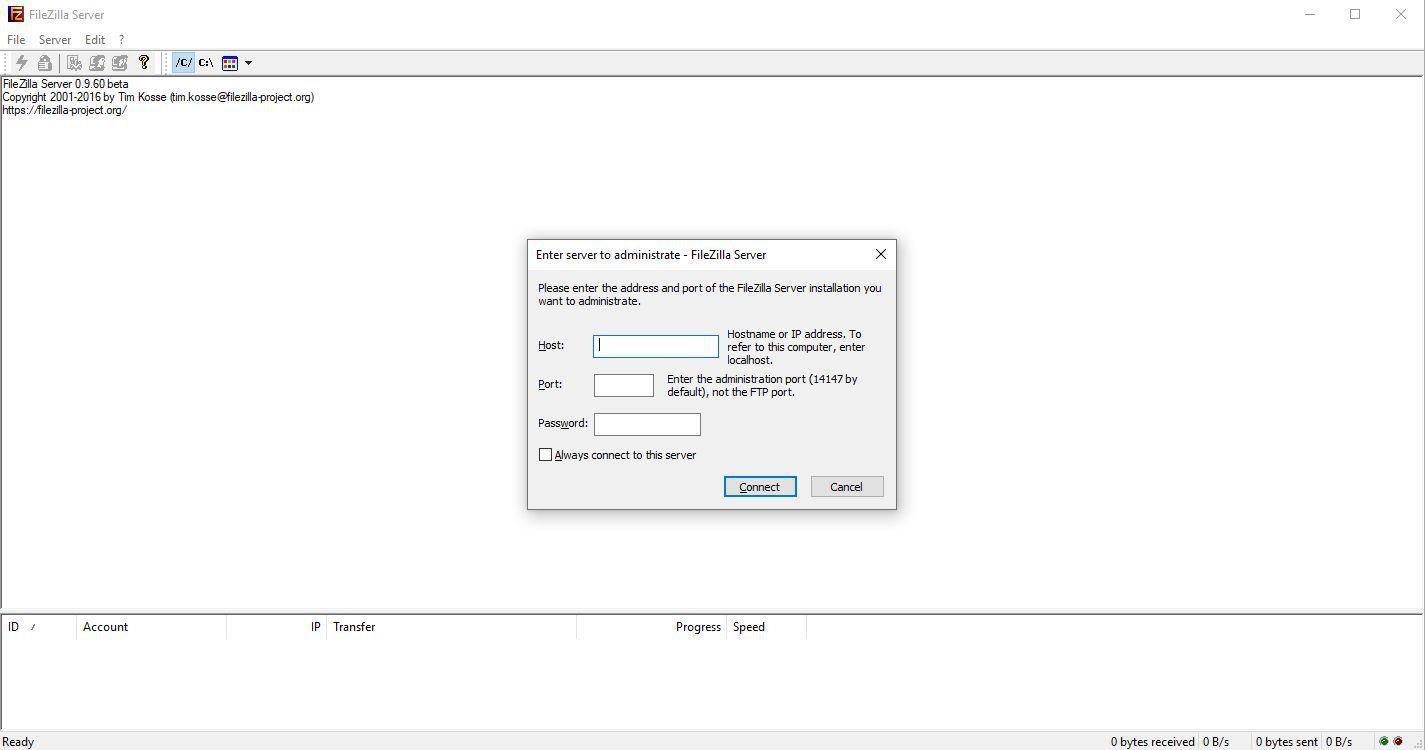 File transfer protocol example FTP, FileZilla
