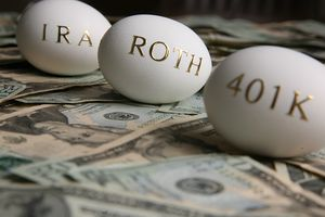 Eggs labeled IRA, Roth, 401(k)