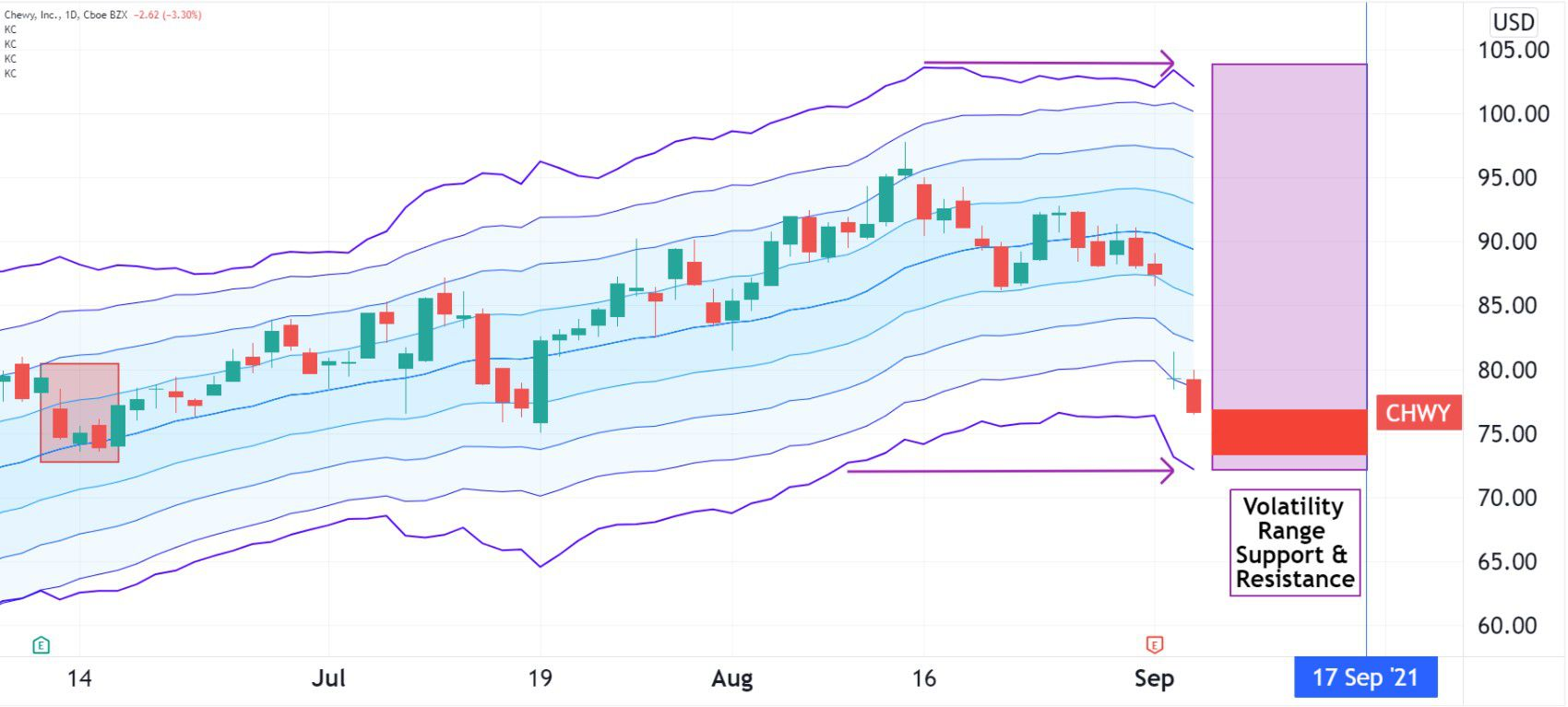 Volatility pattern for Chewy (CHW)
